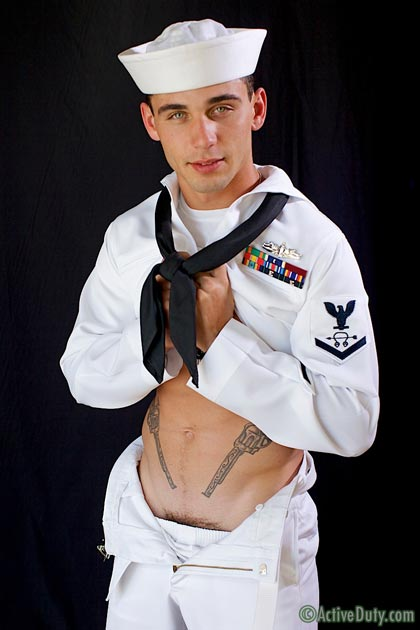 Sexy Sailor Bric Jerks Off His Uncut Cock